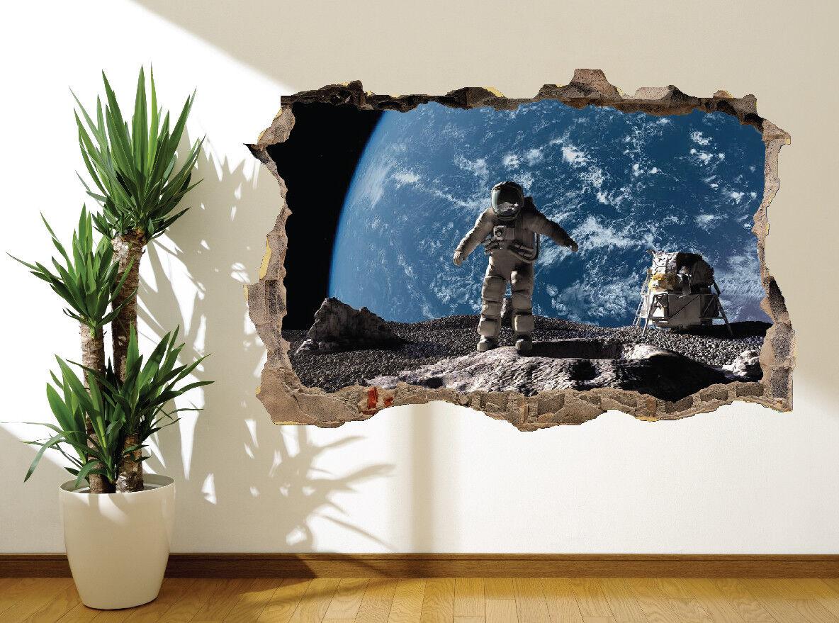 Autocollant Mural Astronaute sur Lune Terre Terre Terre Vue Photo Murale (20109347) | Le Moins Cher  01e04d