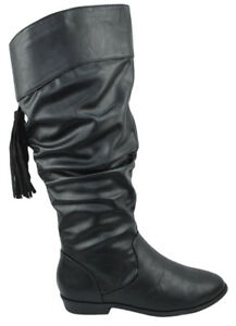 b0f28226330 Soda Women Flat Slouchy Basic Knee High Boots Zipper Black Faux ...