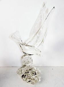Vintage-Murano-Clear-Art-Glass-Sea-Bird-in-Flight-on-Cresting-Wave-Statue-Italy