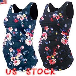 Pregnant-Women-Summer-Floral-Tank-Tops-Maternity-Casual-Sleeveless-Vest-T-Shirt