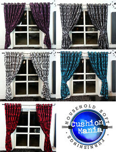PAIR-OF-RINGTOP-FULL-FLOCK-DAMASK-FULLY-LINED-EYELET-CURTAINS-5-COLOURS