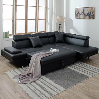 2PC Sleeper Sectional Sofa Black Faux Leather Corner Sofa Bed Living Room  Set 848837073374 | eBay
