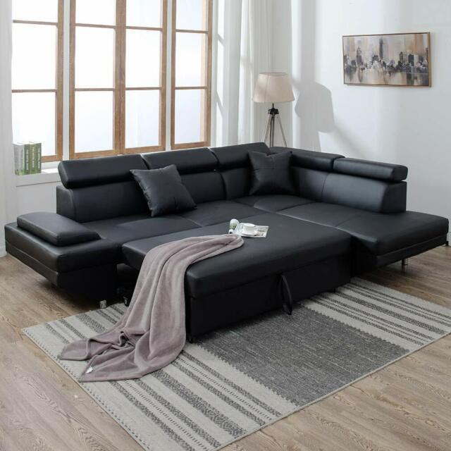 2PC Sleeper Sectional Sofa Black Faux Leather Corner Sofa Bed Living Room  Set