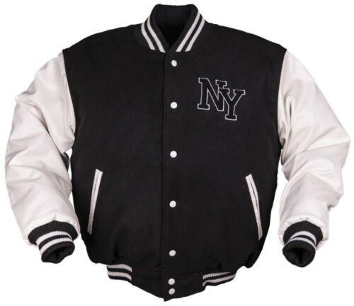 Nuevo ny béisbol chaqueta con parche negro//blanco /& Navy//blanco talla s-3xl