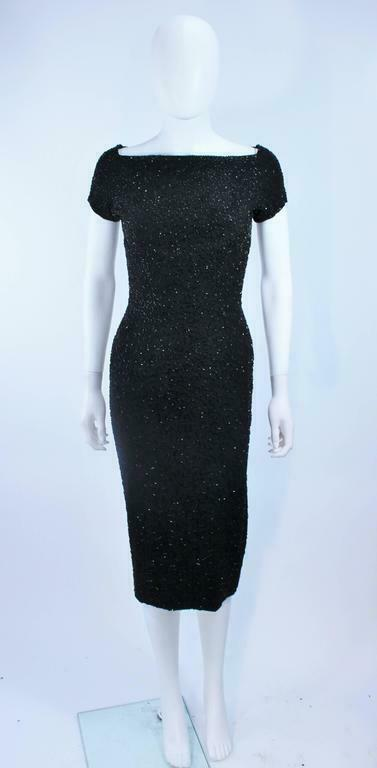 CEIL CHAPMAN Black Beaded Cocktail Dress Size 2 - image 4