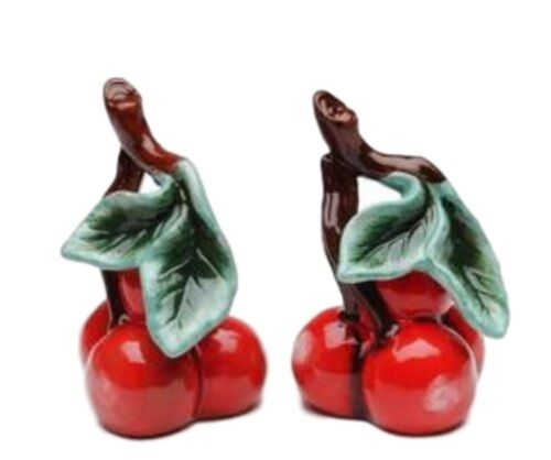 A Pair of Red Cherry Bunch with Leaves Salt and Pepper Shakers