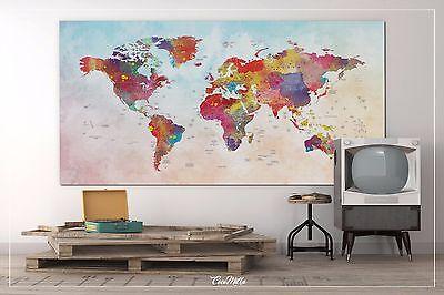 Push Pin World Map Wall Art Canvas Print Large World Map Watercolor  Painting | eBay