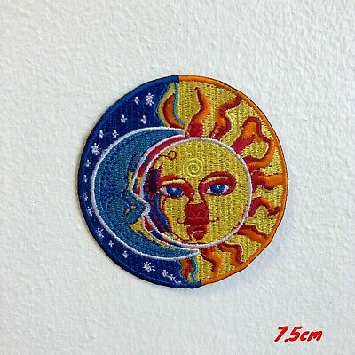 Moon and Sun Eclipse Iron on Embroidered Patch