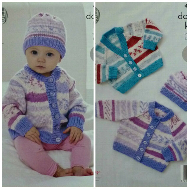 63f33bbcc Knitting Pattern Baby Easy Knit Long Sleeve Cardigans and Hat DK ...