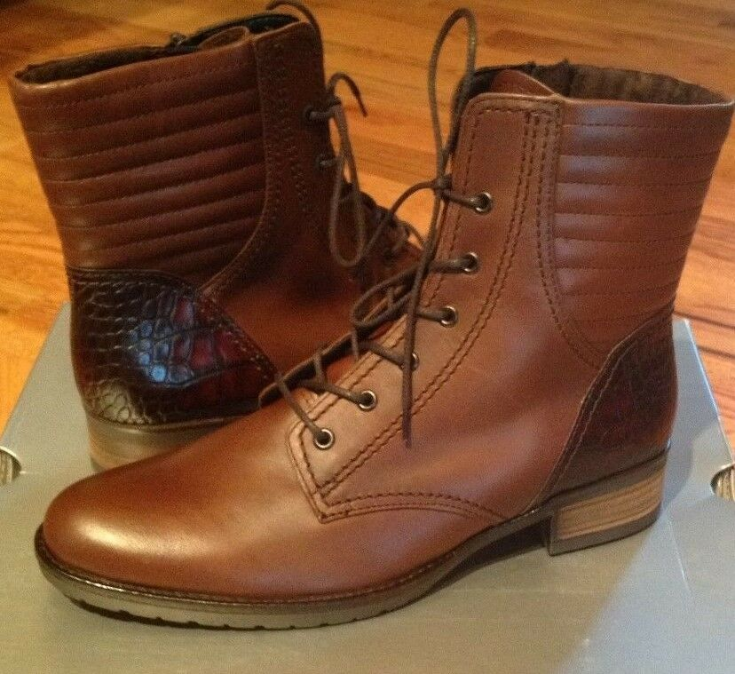 NIB Gabor 31622 Brown Lace-Up Ankle Boots Booties Womens US 6 1 2 M  UK 4