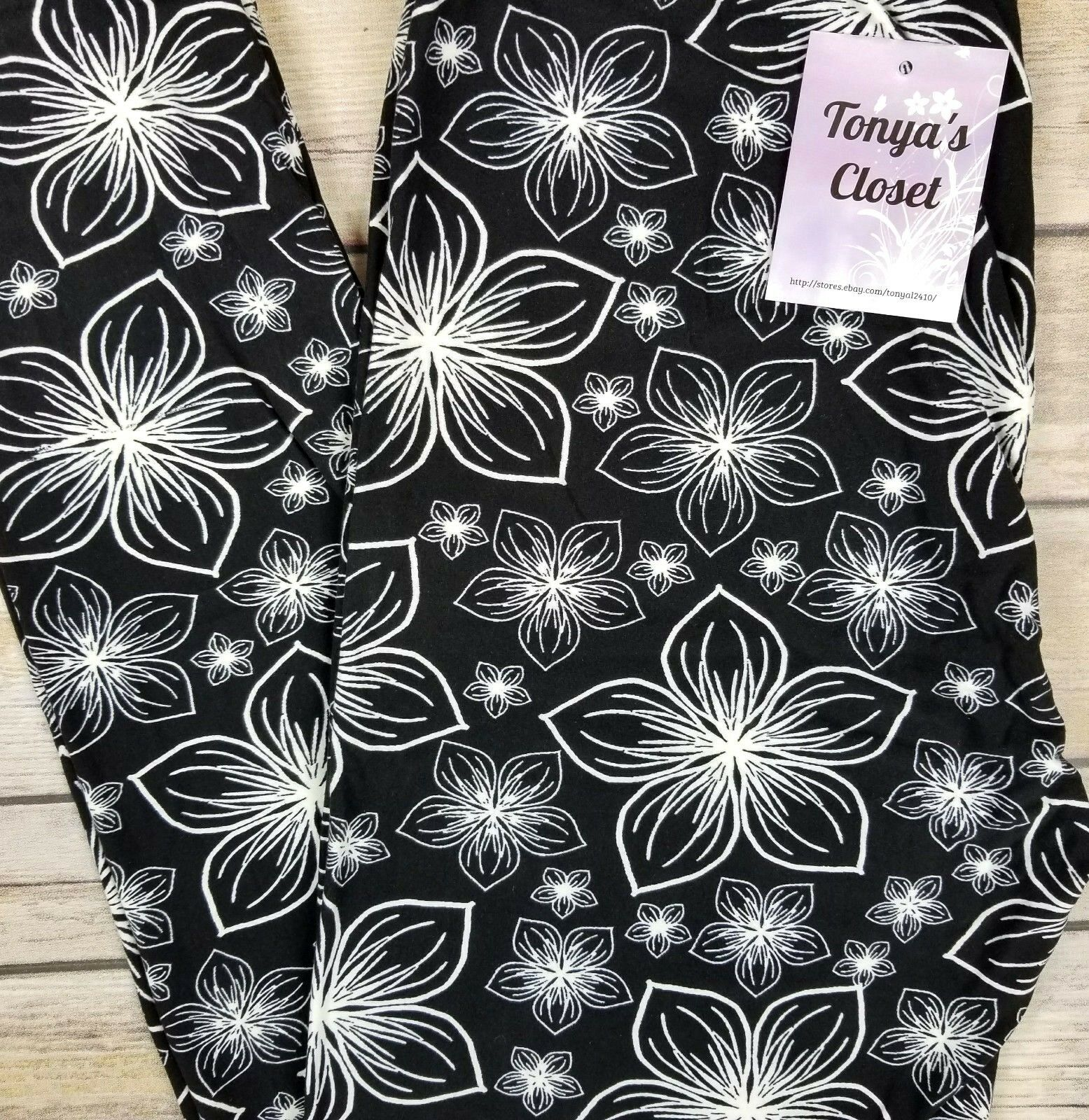 Black White Floral Leggings Lilly Pond Abstract Flowers Butter Soft One Size OS