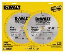 """NEW DEWALT DW3106P5 (2PK) 10"""" CARBIDE CONSTRUCTION TABLE SAW BLADE SET 32T & 60T"""
