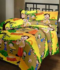 SA Collection's Chota Bheem PolyCotton Single Bedsheet with 1 Pillow Covers