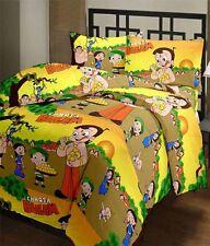 SA Collection's Chota Bheem PolyCotton Single Bedsheet with 1 Pillow Covers
