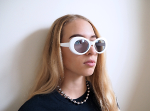 90a5817d6f4c Image is loading White-Sunglasses-Oval-Goggles-Clout-Goggles-Rapper-Glasses-