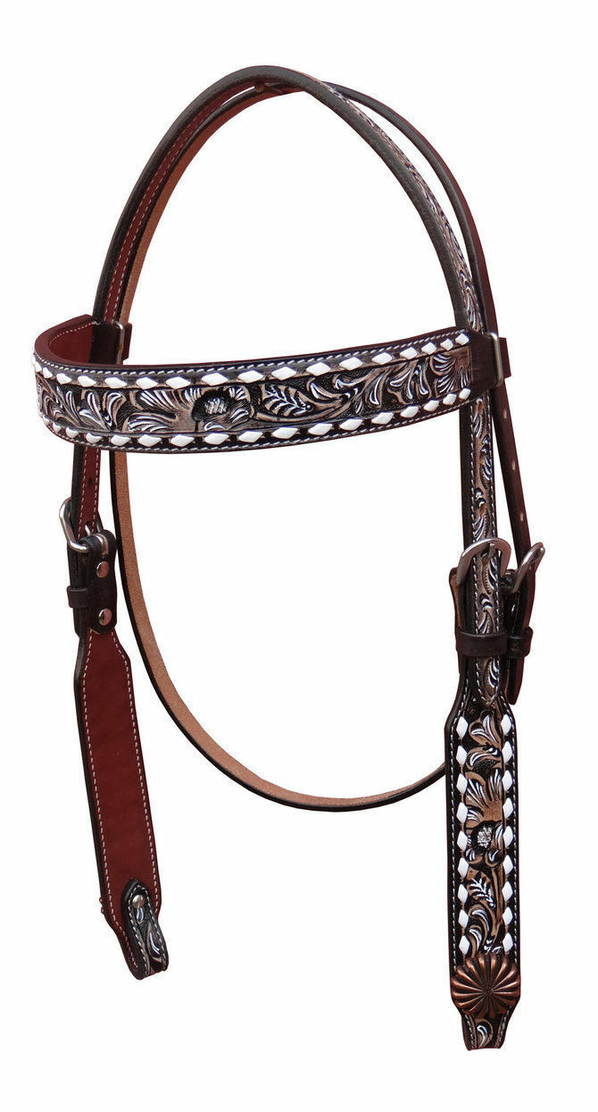 Western Two Tone Leather Buckstitched Set of Headstall and Breast Collar