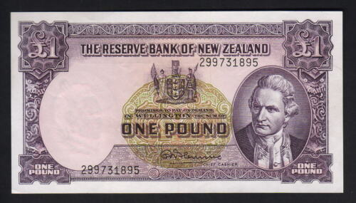 NEW ZEALAND P159d. 1 Pound 195667 Fleming. with Thread. Prefix 299.. aUNC