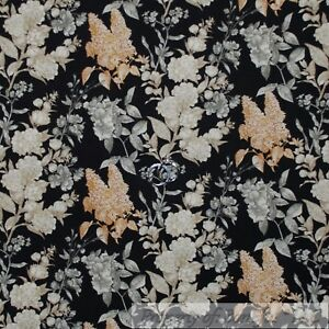427809fa44b Details about BonEful Fabric Cotton Quilt Black Gray Gold Brown Leaf Flower  Tree Toile L SCRAP