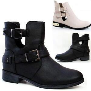 Ladies-Biker-Boots-Fashion-Ankle-Cut-Out-Chelsea-Riding-Smart-Heels-Shoes-Size