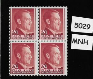 MNH 1941 stamp block / 24 Gr / Adolf Hitler /  Occupied Poland / Third Reich