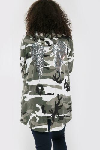 Femmes Sequin ailes d/'ange dos Sur-dimensionné Sweat à Capuche Sweat Veste Manteau Cardigan
