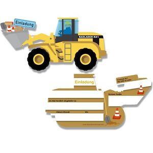 Das Bild Wird Geladen Kindergeburtstag 6 Einladungen Bagger Baustelle Lader  Einladungskarten