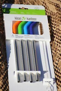 Klean-Kanteen-Stainless-Steel-Straws-Set-Safe-Silicone-Flex-Tip-amp-cleaner-brush
