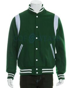 Mens Forest Green Wool and Genuine White Leather Sleeves Bomber Letterman Varsity Jacket