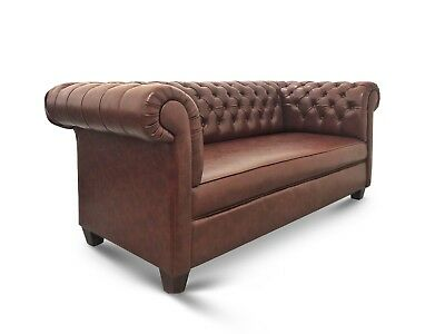 Merveilleux English Style, Hand Made, Tufted Dark Brown Leather, Chesterfield Sofa    EBay