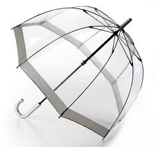 Fulton Birdcage Clear Dome Umbrella with Silver Trim