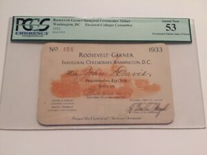 1933-President-Franklin-Roosevelt-Inauguration-Presidential-Elector-Ticket-PCGS