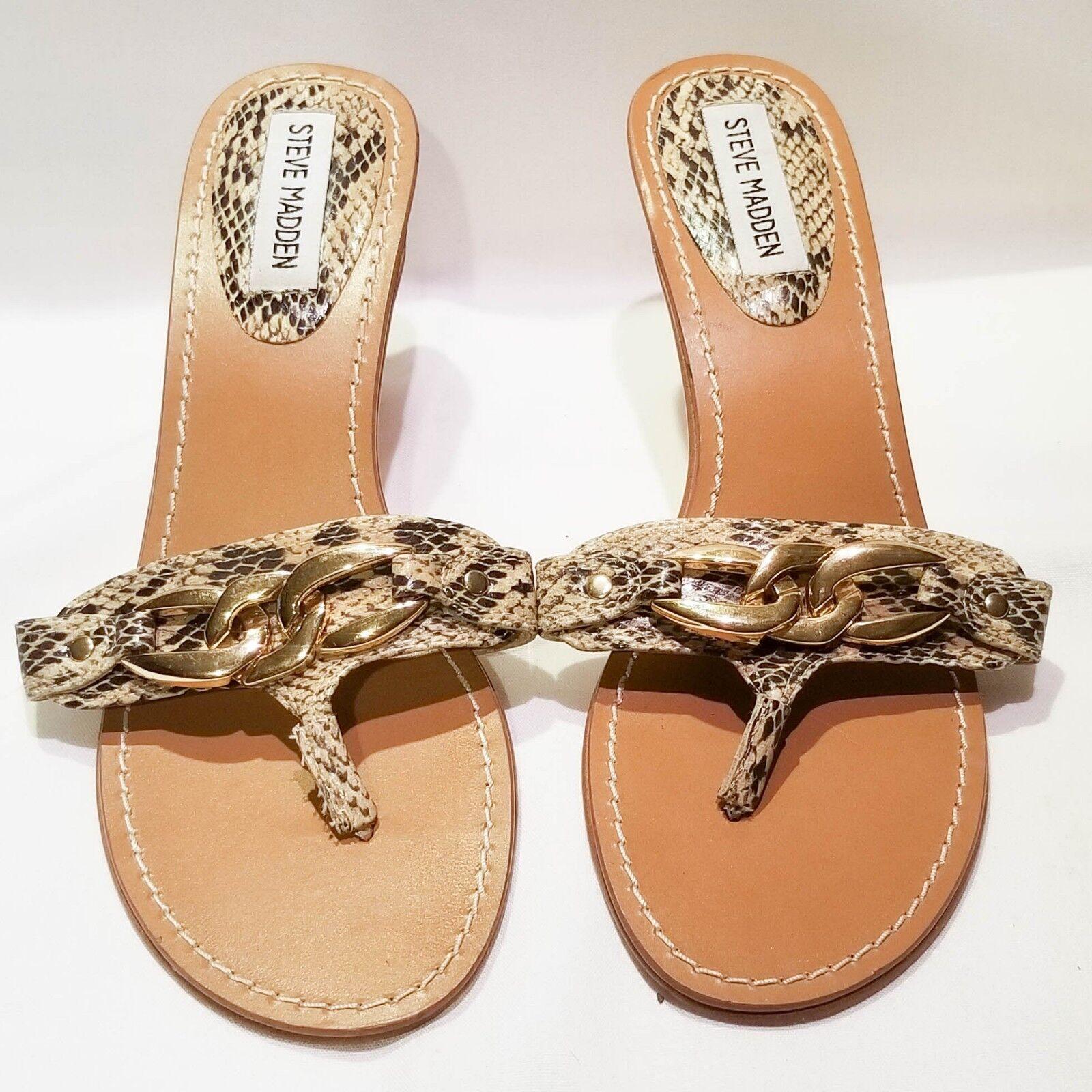 Steve Heel Madden BLAYNNE Snake Skin Sandal Heel Steve Women's US Size 8 e9cfcd