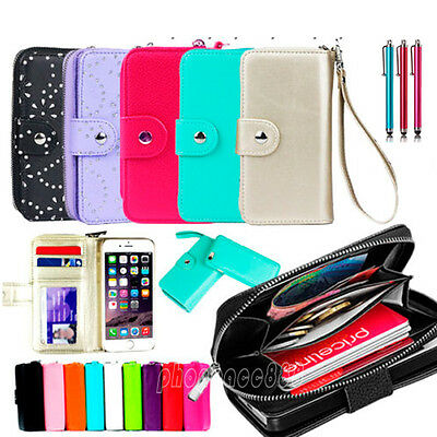 "Leather Magnetic Zip Wallet Card Flip Case Cover For Apple iPhone 6 4.7"" 6 Plus"