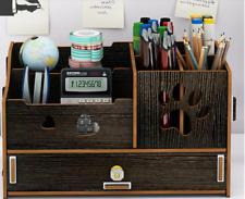 Desk Organizer Multifunctional Home Office Storage Black Dog Paw