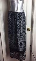 Sans Souci -semi Sheer Lace -animal Print- Black/gray Summer Skirt- High Slit M