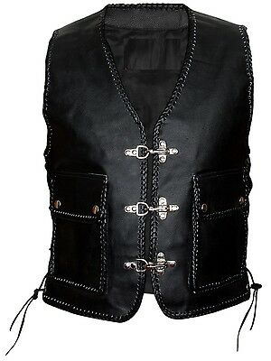 MEN LEATHER WAIST COAT MOTORCYCLE VEST COAT WITH WARPING S-6XL