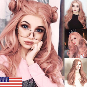 Stylish-Women-Long-Pink-Hair-Full-Wig-SyntheticParty-Cosplay-Costume-Wig-Cap