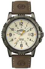 Mens Timex Indiglo Expedition Brown Leather Band Cream Dial Date Watch T49990