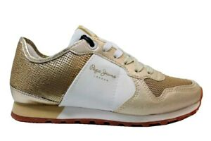 Pepe-Jeans-London-PLS30625-Oro-Sneakers-Donna-Scarpa-Casual-Taglia-36