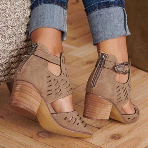 Fashion High Heels Sandales Boucle élégant creux Femme Chaussures Pointure
