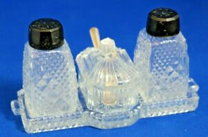 Vintage-Art-Deco-Glass-Cruet-Set-with-Bakelite-tops-Fitted-Tray-amp-EPNS-Spoon