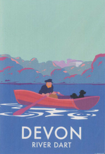 Devon River Dart Art Deco Railway Poster Blank Birthday Card