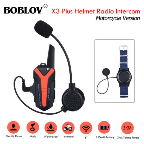 BOBLOV X3plus Helmet Wireless Walkie Talkie Intercom 2Way Radio Interphone Bike