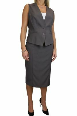 Contrast Lined Waistcoat Trouser Suit Party Day Black 10-20 6500-1