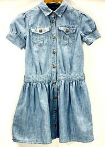 POLO-Ralph-Lauren-Girls-Dress-Size-10-Blue-Denim-Eagle-Buttons-Short-Sleeve