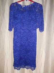 Blue Taille 12 Monsoon Ladies Dress Lace Ox7qPw