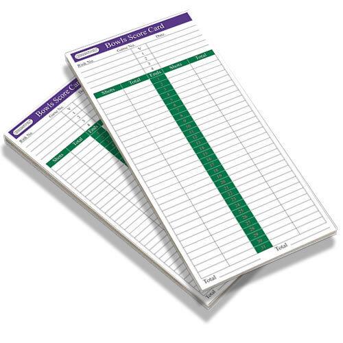 Bowls   Bowling score card pads