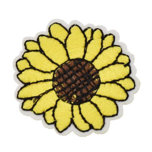 10Pcs Yellow Sunflower Patches Sewing Craft Plant Embroidered Applique Handmade