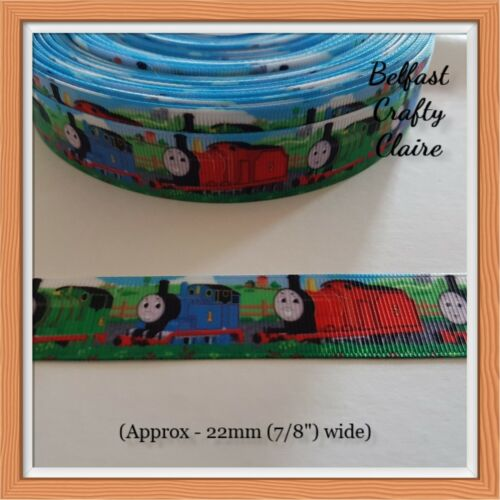 Thomas The Tank Engine Ribbon 22 mm wide Hair Bows Cake Card Crafts Sewing
