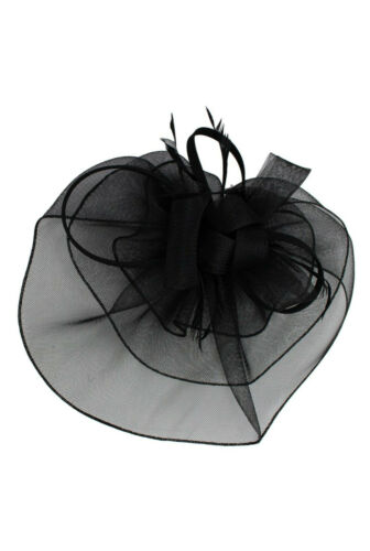 LARGE Feather Flower Hat Fascinator Headband Wedding Prom Royal Ascot Race Party
